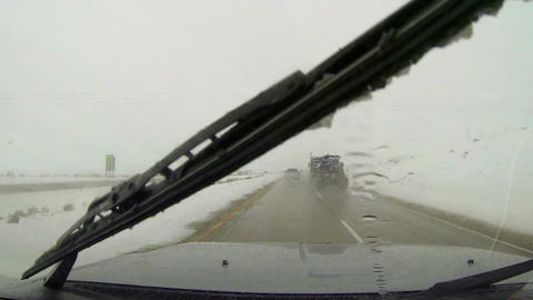 Winter highway driving snow and ice on road HD 006 Footage