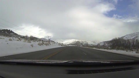 Winter snow covered mountains rural road POV HD 008 Footage