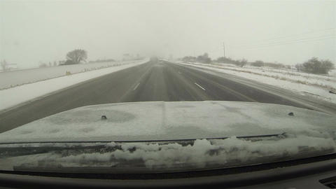 Winter snow storm freeway car wreck POV HD 0198 Footage