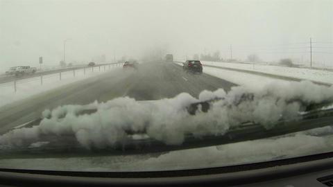 Winter storm blizzard freeway passing bus POV HD 0199 Footage