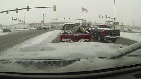 Winter storm traffic light city POV HD 0198 Footage