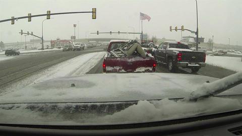 Winter storm traffic light city POV HD 0198 Footage