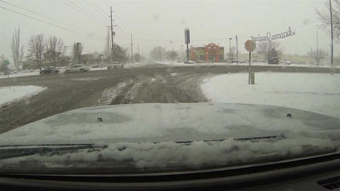 Winter storm drive truck in city POV HD 0198 Footage