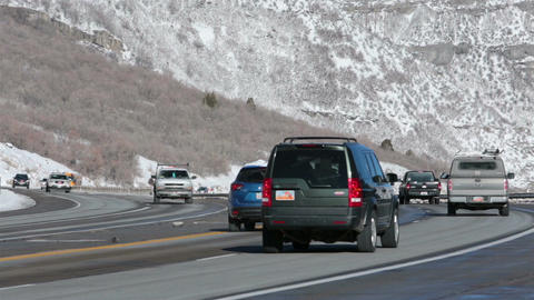 Winter traffic mountain highway school bus HD 0213 Live Action