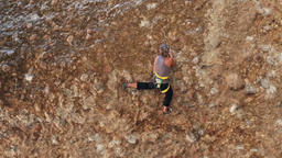 Woman rock climbs Maple Box Canyon Utah safety rope HD 2674 Footage