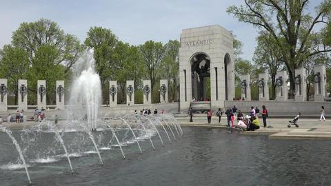 World War II Memorial fountain Washington DC 4K 042 Footage