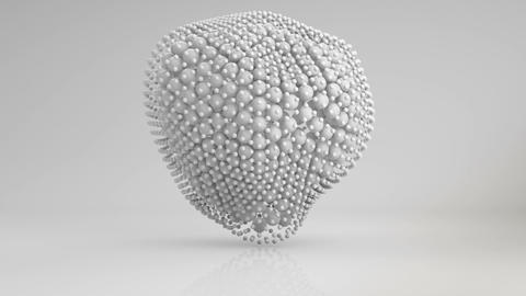 Deforming cluster of white spheres 3D render loopable Animation