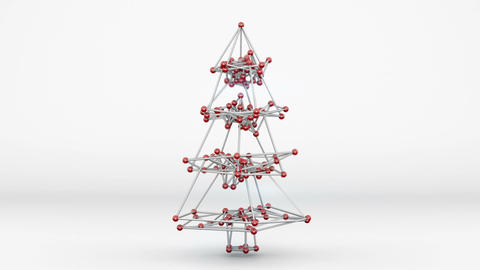 Wireframe mesh of christmas tree 3D render loopable animation Animation