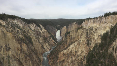 Yellowstone Grand Canyon River Lower Falls zoom 4K Footage