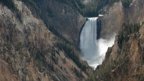 Yellowstone Lower Falls landscape close P HD 2382 Footage