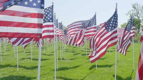 Slow motion American flags waving in the wind Footage