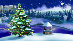 Christmas Tree Lights Flashing with Falling Snow Footage