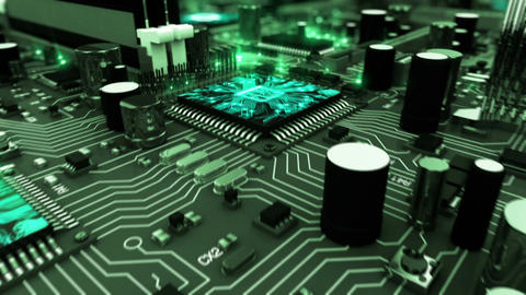 Beautiful 3d animation of the Motherboard with Moving Green Flares and Working P Animation