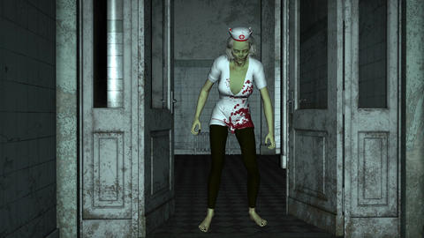 Zombie Nurse goes on hospital corridor Animation
