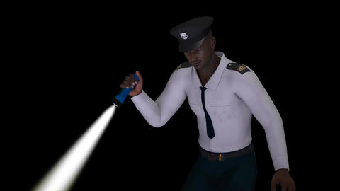 policeman with a flashlight looking for something,transparent background, animat Animation