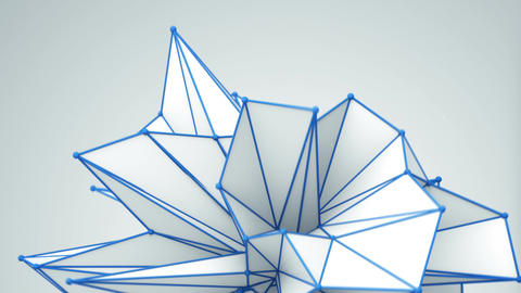 Dynamic polygonal white shape rotating 3D render seamless loop Animation