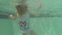 Young girl dives into swimming pool underwater HD 027 Footage