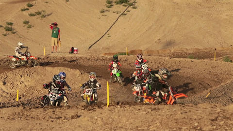 Youth motorcycle motocross race corner HD 8318 Footage