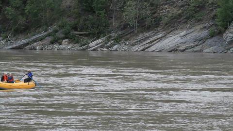 Yukon River Dawson raft Canada recreation P HD 1421 Footage