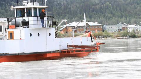 Yukon River auto ferry RV Canada travel P HD 1463 Footage
