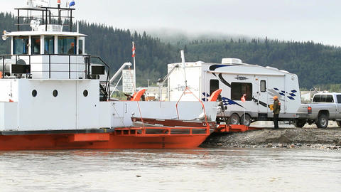 Yukon River ferry unload RV P HD 1464 Live Action