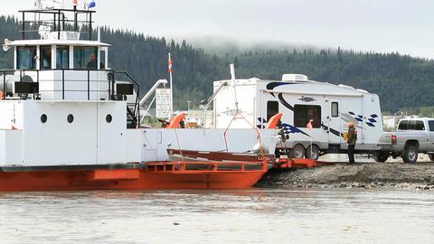 Yukon River ferry unload RV P HD 1464 Footage