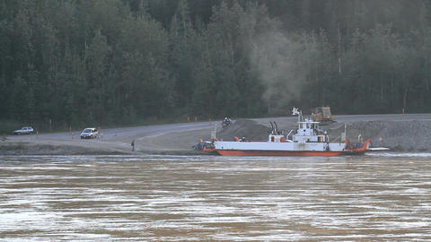 Yukon River ferry unloading vehicles P HD 1427 Footage