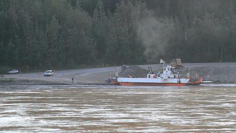 Yukon River ferry unloading vehicles P HD 1427 Footage