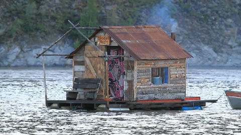 Yukon River houseboat smoke P HD 1447 Live Action