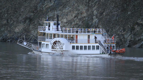 Yukon River Canada side paddle wheel boat on river P HD 1438 Footage