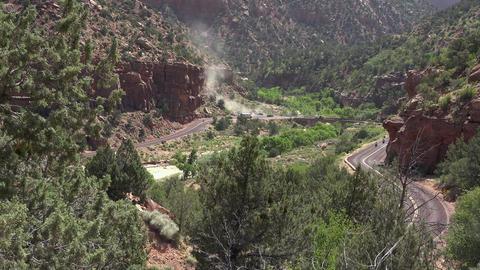 Zion National Park Utah valley road traffic 4K Footage