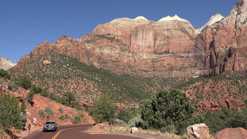 Zion National Park mountain road beautiful cliffs 4K Footage