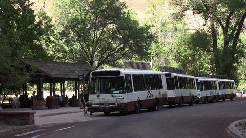 Zions National Park Utah shuttle tour bus 4K 104 Footage