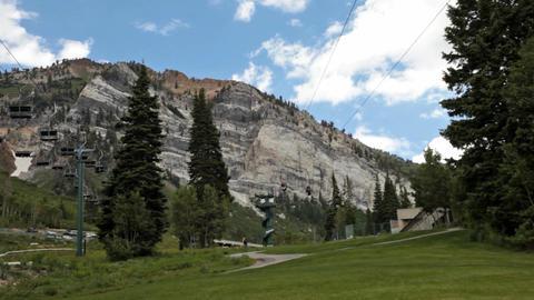 Zipline at outside mountain summer resort P HD 0812 Footage