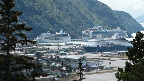 cruise ship Skagway port P HD 8760 Footage