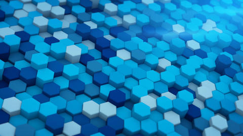 Blue extruded hexagons mosaic 3D render loopable animation Animation