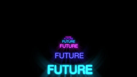Motion of neon text Future in dark background Animation