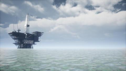 Large Pacific Ocean offshore oil rig drilling platform Live Action