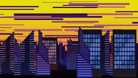 Cartoon animation background with motion clouds and buildings, abstract cityscape backdrop Animation