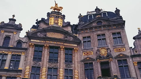 Streets of Brussels, the capital city of Belgium, european architecture and Live Action