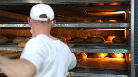 Chef removes freshly baked bakery products from the oven. Baked bread is removed Live Action