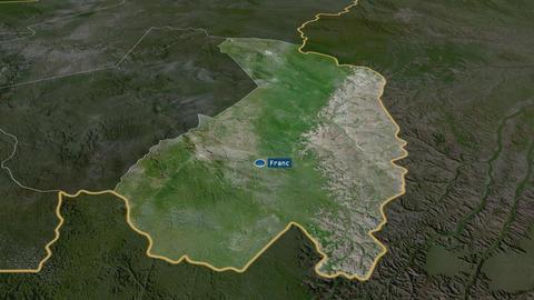 Haut-Ogooué - province of Gabon. Satellite Animation