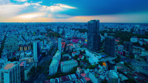 A sunset timelapse of panoramic cityscape in Ho Chi Minh high angle wide shot Live Action