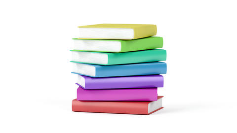 Stack of many colorful books Animation