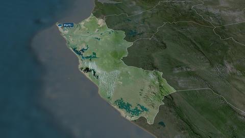 Ogooué-Maritime - province of Gabon. Satellite Animation