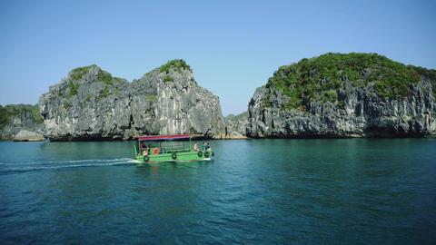 Halong Bay Vietnam Uhd 4K. Ha Long Tourist Travel Destination Landscape Live Action