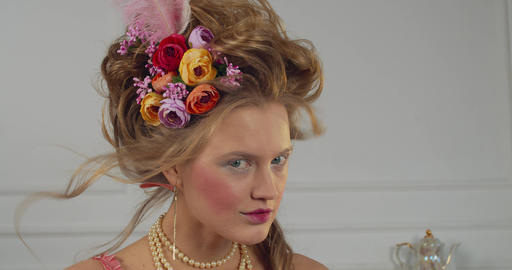 Portrait of a young pretty woman with 18th century makeup and hairstyle, 4k Live Action