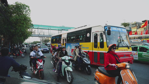 Motorbike Riders Wear Face Masks, Protection Against Smog, Hanoi, Vietnam Live Action