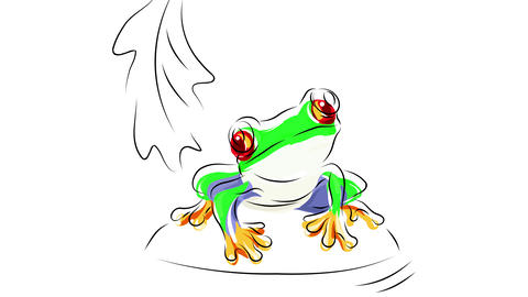 exotic amphibian with vibrant vivid colored skin and red eyes living on a tropical atmosphere like Animation