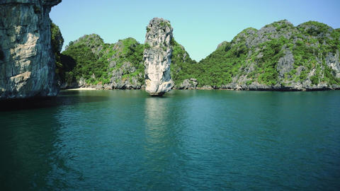 Junk Boat Ride View Of Nature Scenery In Halong Bay Vietnam Live Action